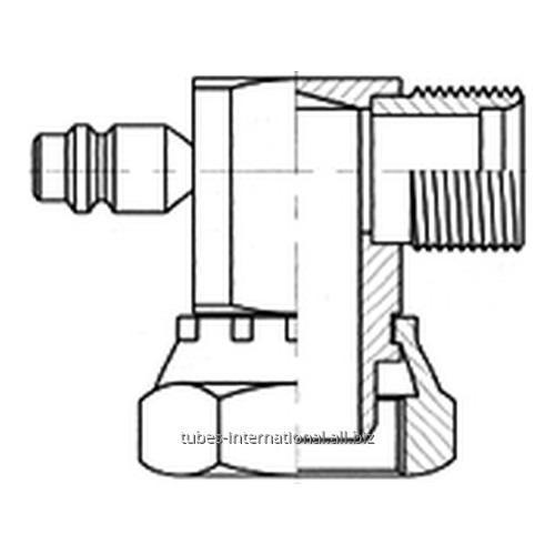 Адаптер 90° внутр. рез. / нар. рез. UNF с клапаном R134