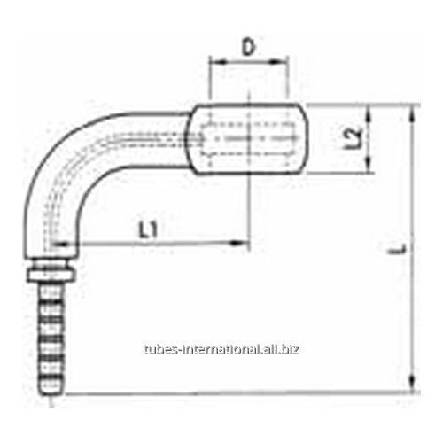 Фитинг для тормозных шлангов из тефлона DN 3 обжимаемый 90° Банджо
