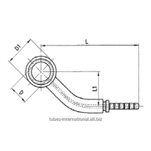 Фитинг для тормозных шлангов из тефлона DN 3 обжимаемый 45° Банджо боковое