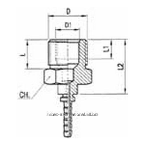 Фитинг для тормозных шлангов из тефлона Наружная / внутренняя резьба DN 3 обжимаемый
