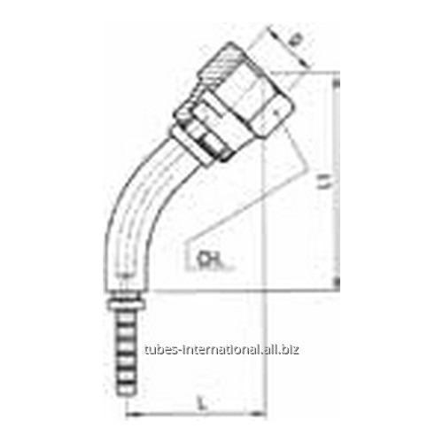 Фитинг для тормозных шлангов из тефлона 45° Внутренняя резьба с гайкой DN 3 обжимаемый