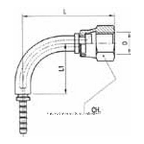 Фитинг для тормозных шлангов из тефлона 90° Внутренняя резьба с гайкой DN 3 обжимаемый