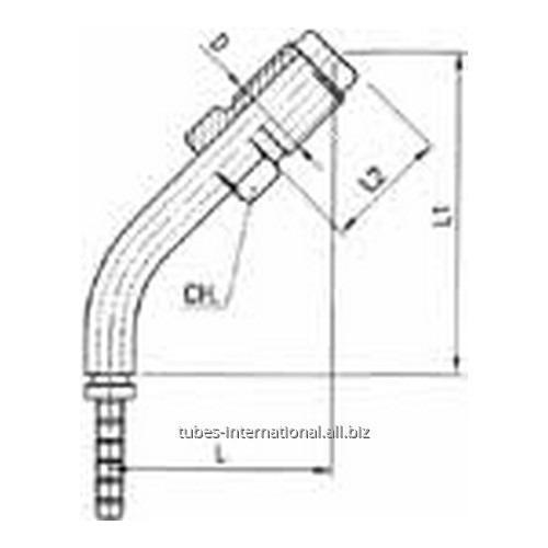 Фитинг для тормозных шлангов из тефлона 45° Наружная резьба с гайкой DN 3 обжимаемый