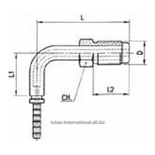 Фитинг для тормозных шлангов из тефлона 90° Наружная резьба с гайкой DN 3 обжимаемый