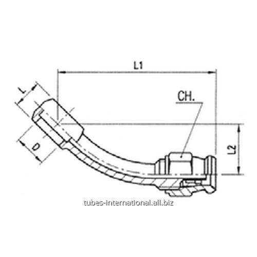 Фитинг скручиваемый для тормозных шлангов из тефлона 45 Банджо