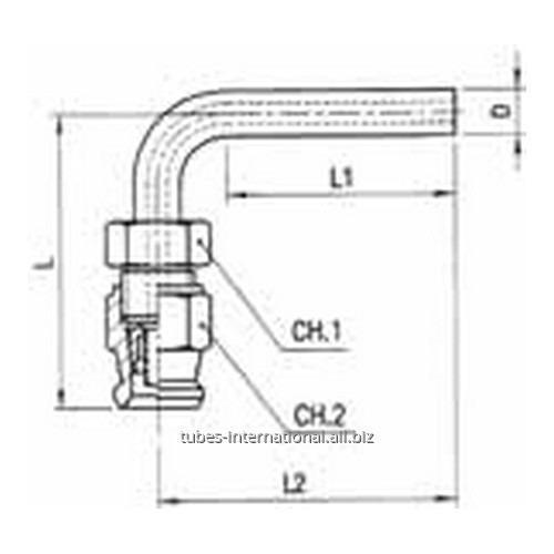 Цилиндрический фитинг 90° скручиваемый для тормозных шлангов из тефлона