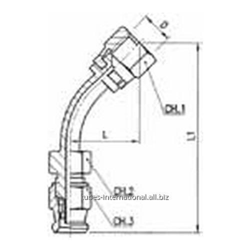 Фитинг скручиваемый для тормозных шлангов из тефлона 45° Внутренняя резьба с гайкой