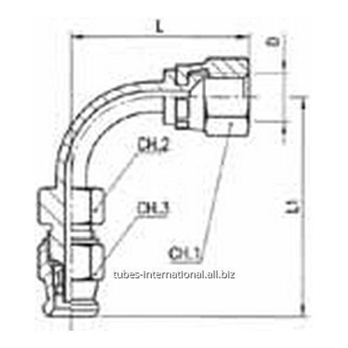 Фитинг скручиваемый для тормозных шлангов из тефлона 90° Внутренняя резьба с гайкой