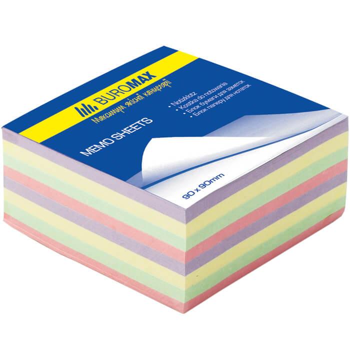 Блок бумаги для записей Buromax ДЕКОР 90х90х40 склеенный