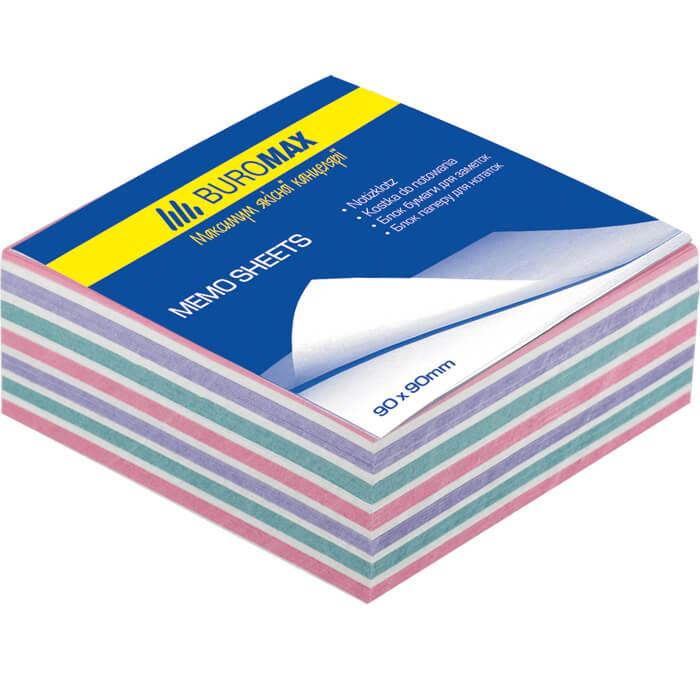 Блок бумаги для записей Buromax ЗЕБРА 80х80х30 склеенный