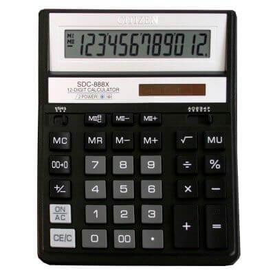 Калькулятор Citizen SDC-888 ХBK 12ти разрядный, черный