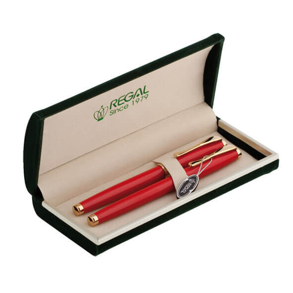 Купить Комплект из ручки-роллера и перьевой в бархатном футляре Regal (R86205.H.RF)