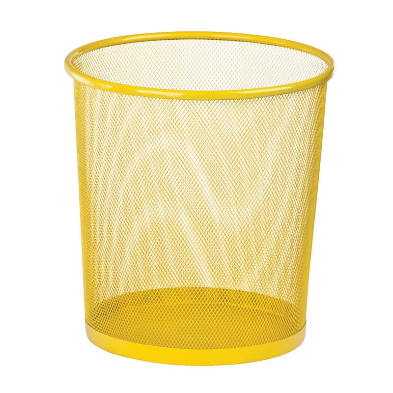 Купить Корзина для бумаг Zibi круглая, металлическая, желтая