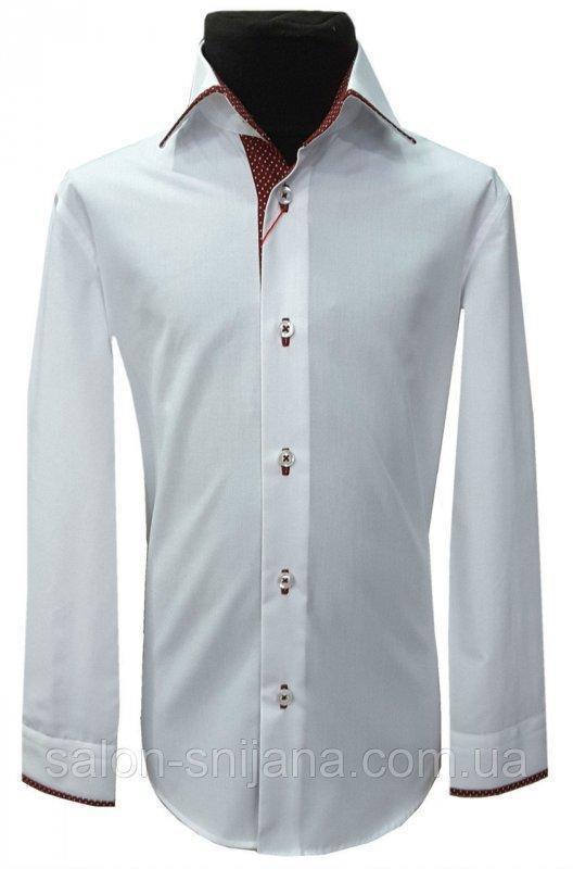 Рубашка детская белая №12.38 - 506/11-0601 бордовая планка