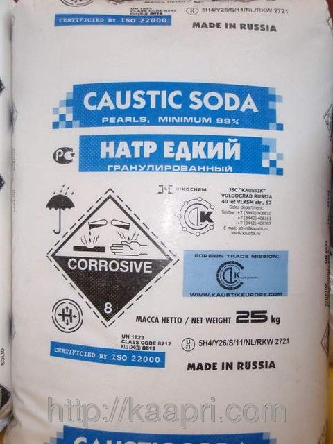 Сода каустическая гранулированная, чешуя в мешках по 25 кг. № 1