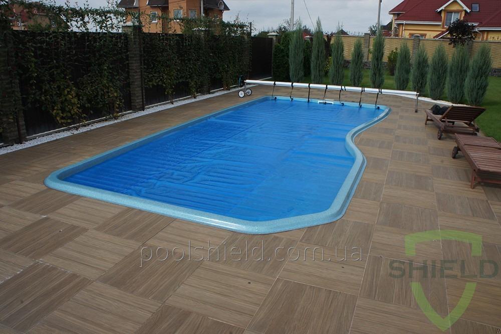 Shield che copre risparmio energetico per piscine coperte, blu.