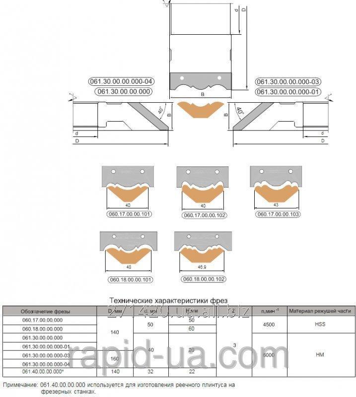 Купить Фреза для обработки боковой поверхности 160х40 50 х20х3 061.30.00.00.000-01