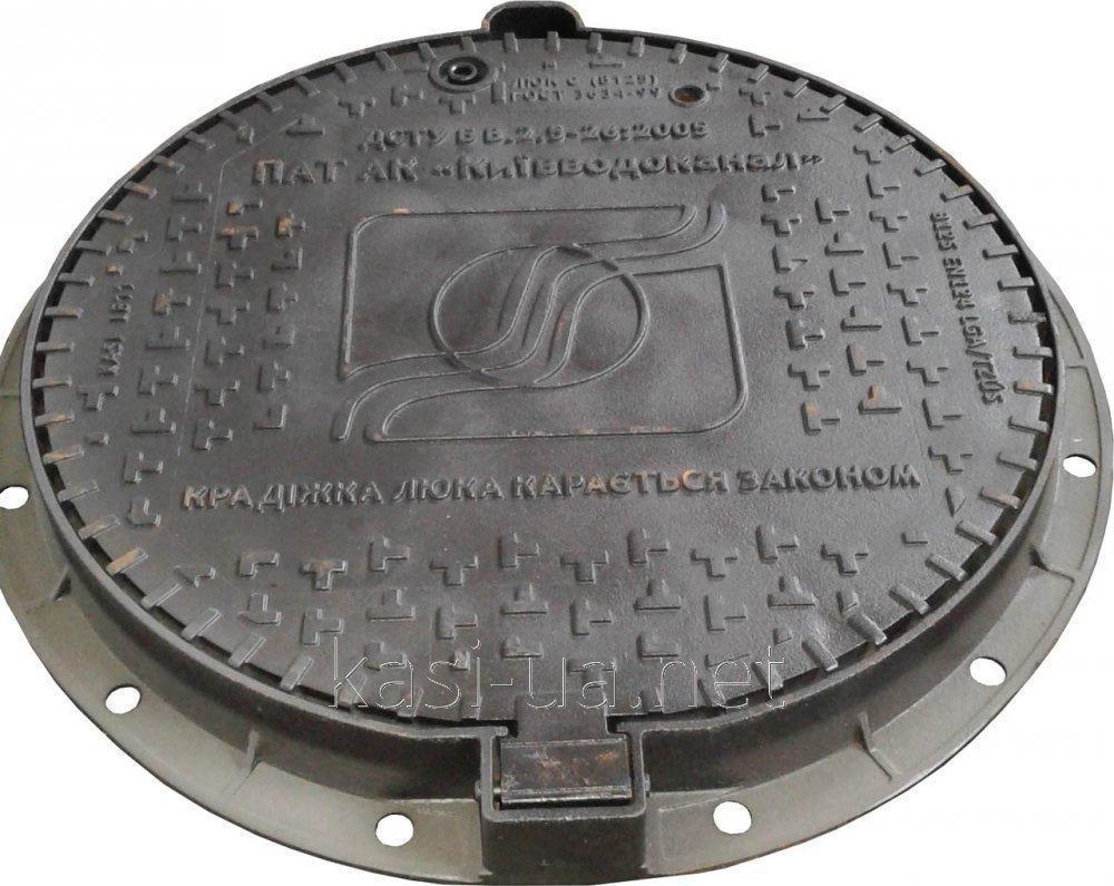 Люк канализационный средний из высокопрочного чугуна ВЧШГ 500-7 тип С (В125) KВL03P КИЕВВОДОКАНАЛ (Чехия)
