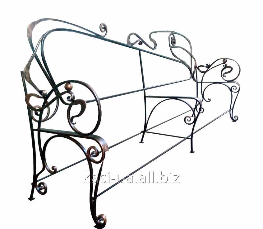 Опора (каркас) лавки садово-парковой кованная с подлокотником № 3