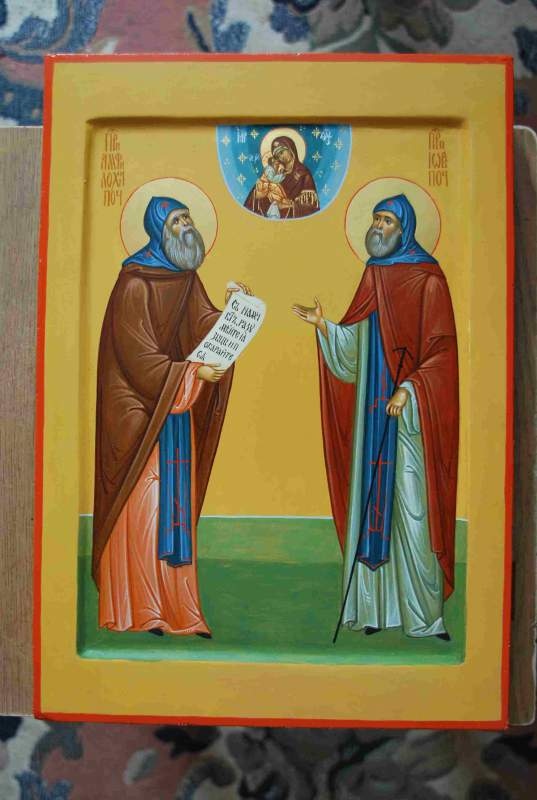 Buy Icon of the Reverend Iov and Amfilokhiya pochayevsky, sale of icons, icons to order, icons from the producer, icons cheap.