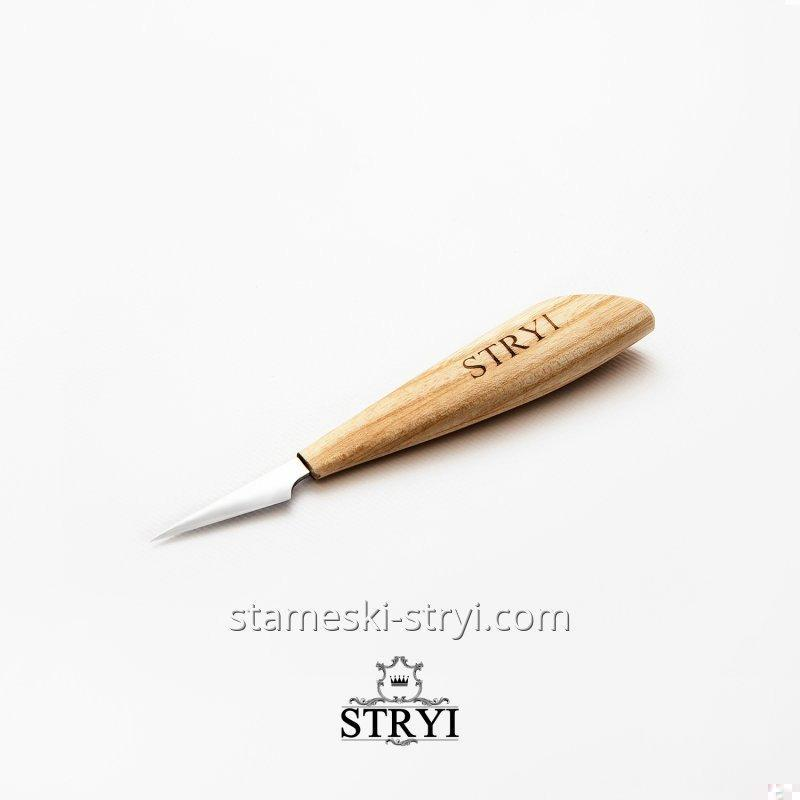 """Стамеска нож-косяк STRYI 15 градусов с """"пяткой"""" для резьбы по дереву, арт.181540"""