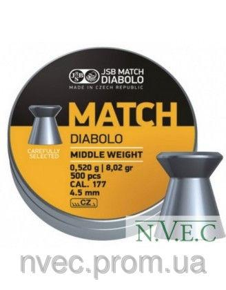 Пули пневматические JSB Match Diabolo middle 4.50мм, 0.52г (500шт)