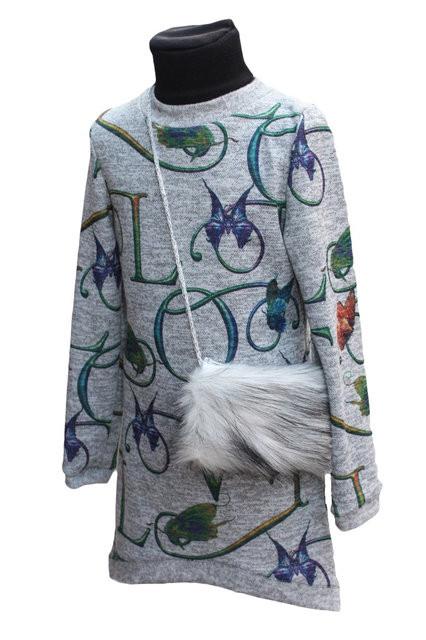 Купить Детская теплая туника с меховой сумочкой р. 128-146 3596