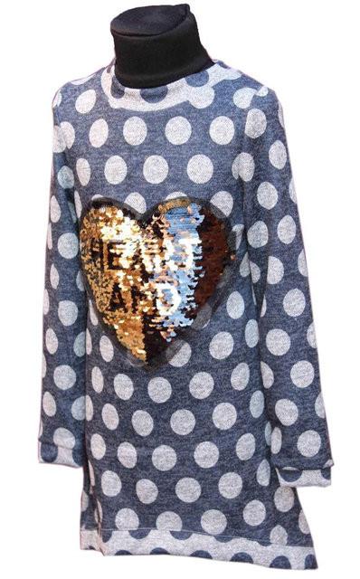 Купить Детская теплая туника с паетками р. 128-146 3599
