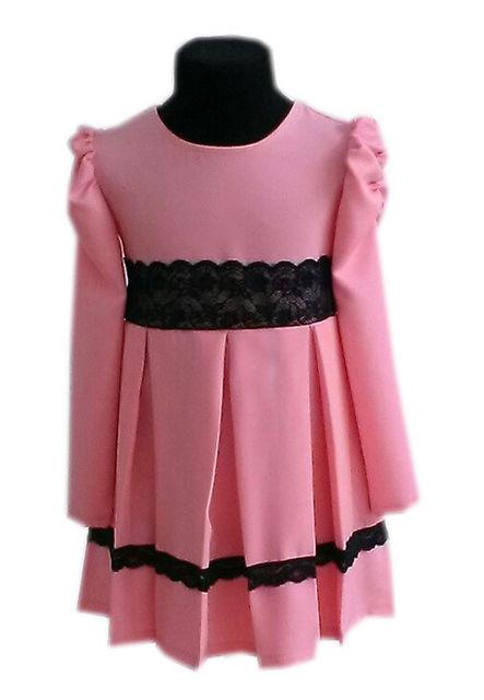 Купить Детское нарядное платье с кружевом персик р. 104-122 3548