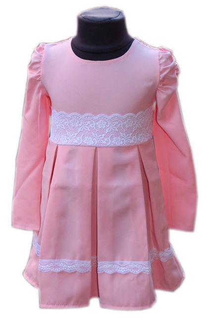 Купить Детское нарядное платье с кружевом пудра р. 104-122 3610