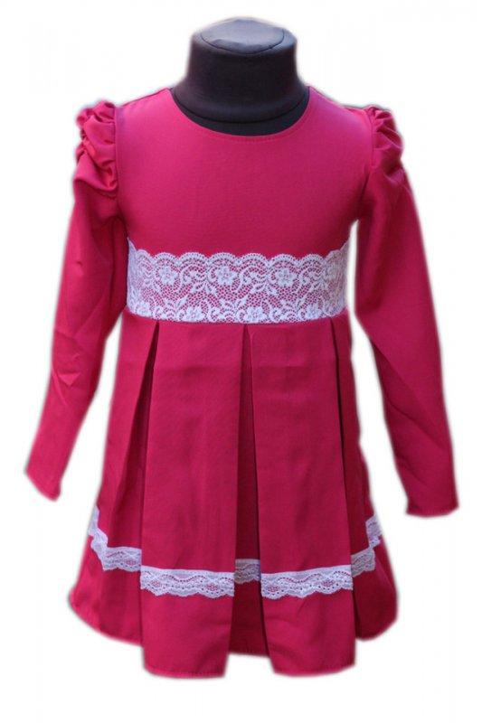 Купить Детское нарядное платье с кружевом малина р. 104-122 3612