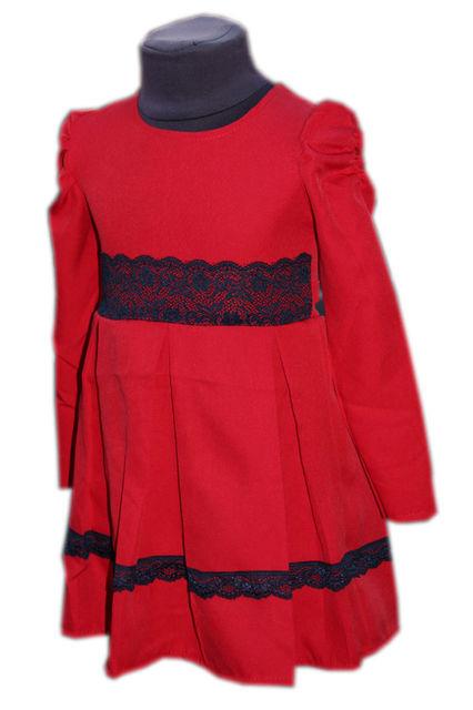 Купить Детское нарядное платье с кружевом красное р. 104-122 3613