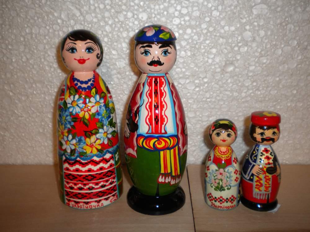Куклы деревянные, казак и казачка большие