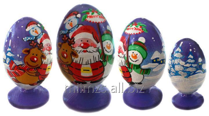 Яйцо деревянное Santa and Snowman - 8