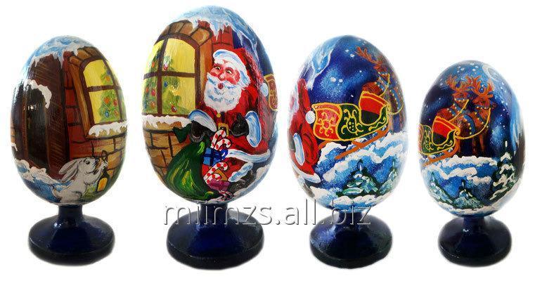 Яйцо деревянное Santa and Snowman - 9