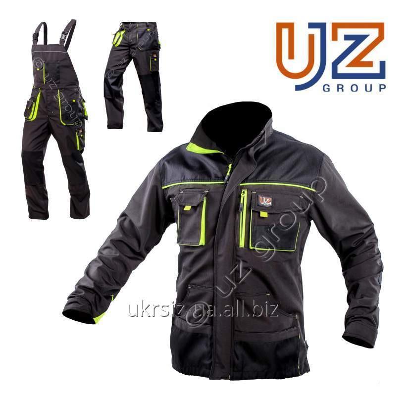 Костюм Брюки+Куртка Steeluz тёмно-серый с салатовой отделкой