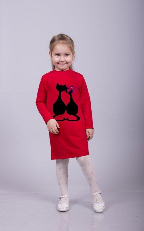 """Платье для девочки с принтом """"Влюбленные кошки"""""""