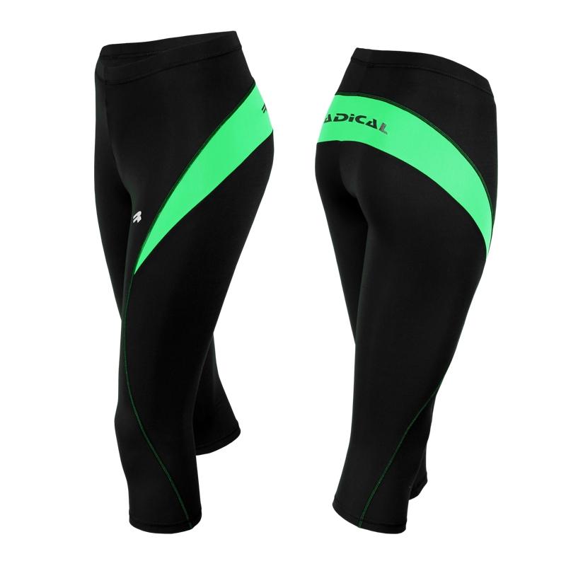 Спортивные штаны женские Radical Flexy 3/4 черно-зеленые