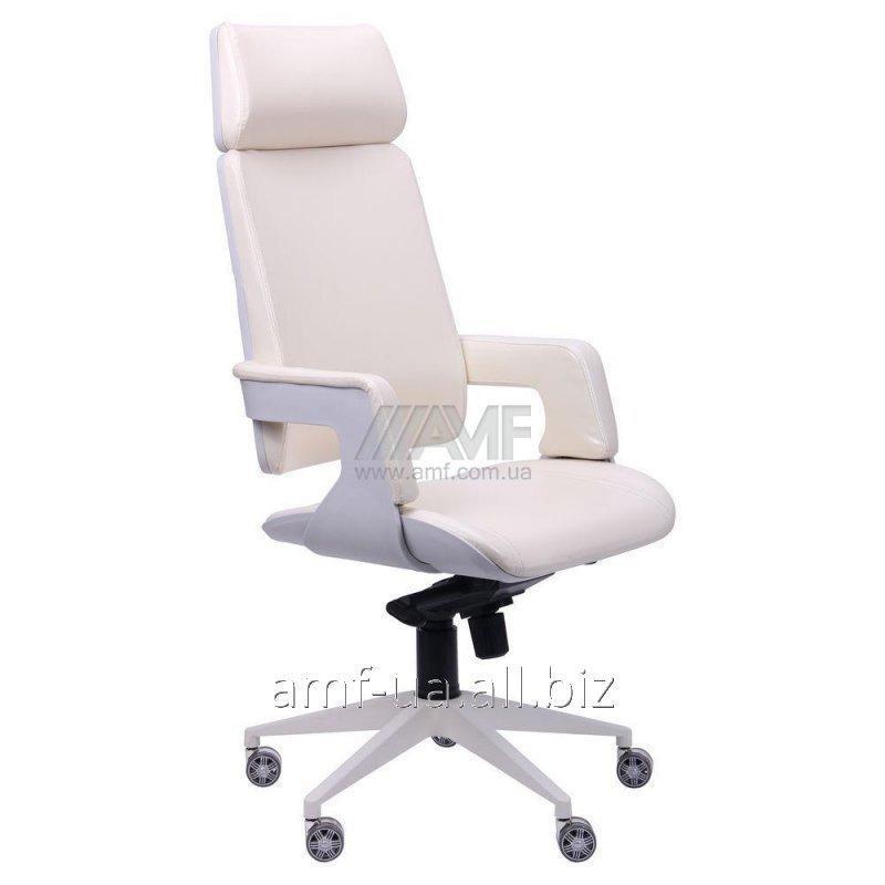 Кресло Axon каркас белый, к/з ваниль