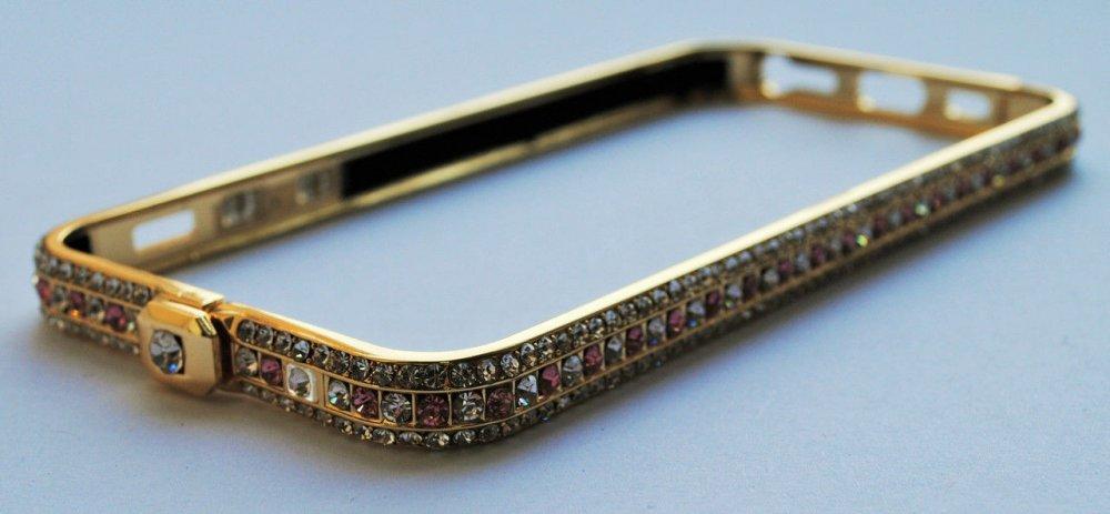 Купить Чехол Бампер Colour Swarovski NEW Металл с Защелкой сверху Purple stones для Apple iPhone 6/6s Gold
