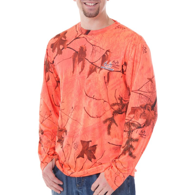 Футболка оранжевая для охоты с длинным рукавом Realtree and Mossy Oak