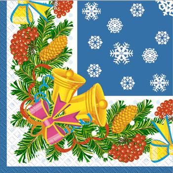 Салфетка 33х33 Звоночки синие 20шт