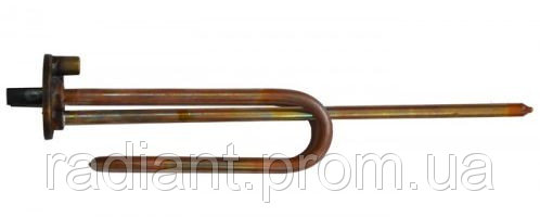 ТЭН 4815TW: фланец d48,1500 W гнутый, медный, резьба под анод М6. Termowatt.