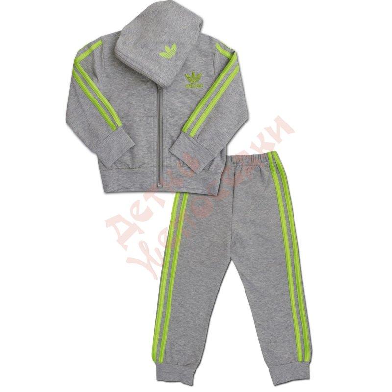 191ca51f Спортивный костюм для мальчика Зелёный лампас тёмно- Adidas, Серый, 98,  92-116, 98 см