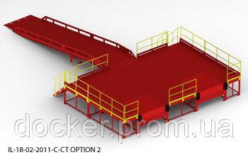 Пандус перегрузочный 6т с 2 платформами уравнительными 2х2.5м и эстакадой стационарной 9м