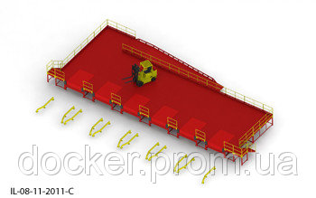 Пандус перегрузочный 6т с 6 платформами уравнительными 2х2м и эстакадой стационарной 12м