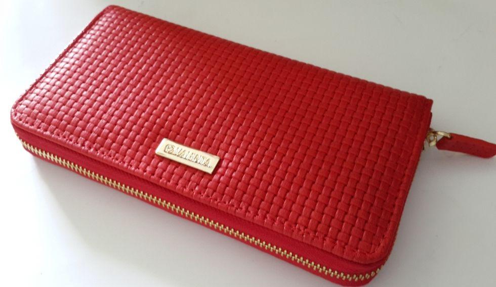 Кожаный женский кошелек на молнии Valenta красное плетение