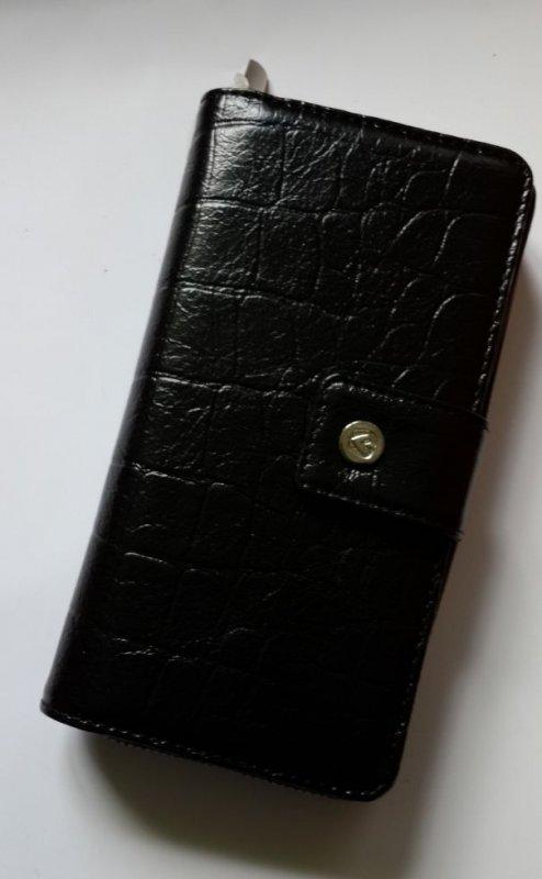 Кожаный женский кошелек, органайзер. черный кроко