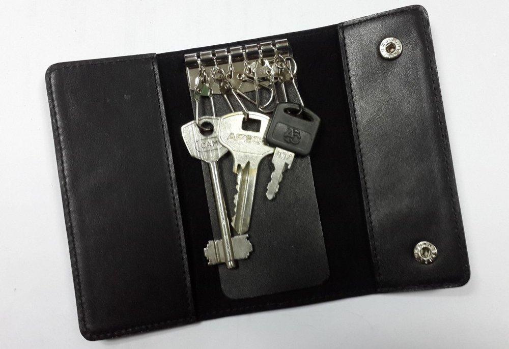 Кожаный футляр для ключей Valenta черного цвета