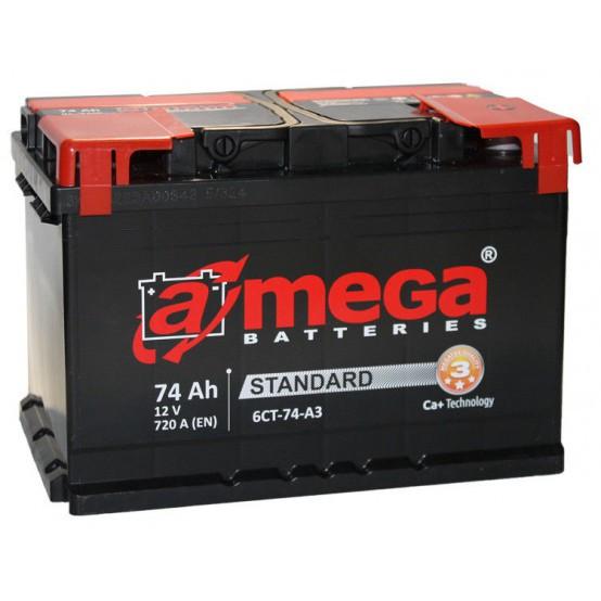 Аккумулятор A-MEGA, 74 Ач, 278x175x190, Правый + (обратной полярности), 720А